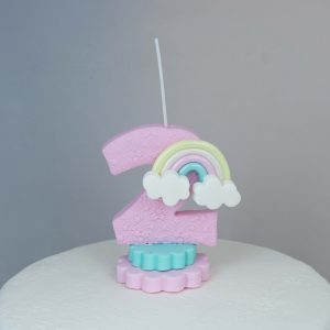 Vela de cumpleaños con arcoiris
